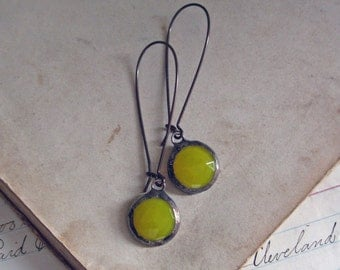 Yellow Faceted Glass Earrings Long Arched Earwires