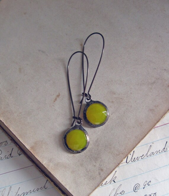 Bright Yellow Faceted Glass Earrings Long Arched Earwires