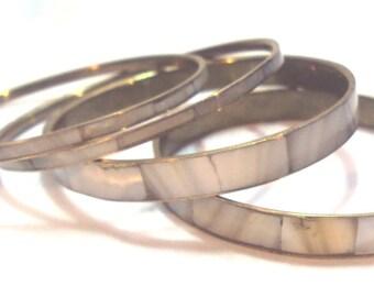 4 Mother of Pearl and Brass Vintage Bangles Bracelets