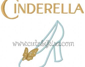 Cinderella Shoe Applique Embroidery Design