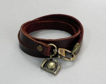 Leather Wrap Bracelet Leather Charm Bracelet Brown Color with Metal Camera Charm