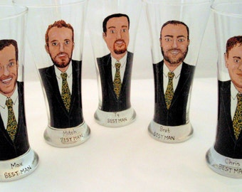 Five Custom Groomsmen Gifts Personalized Painted Pilsner Beer Glasses (5) Custom Caricatures-Unique Bridal Party Gift