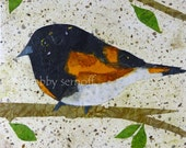 American Redstart -  Bird Art - Collage Art -  Giclee Fine Art Print