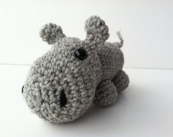 Amigurumi Crochet Heather Gray Hippo Plush Toy Kawaii Plush Hippo Stuffed Animal Hippo Plushie Hippo Nursery Decor Hippo Plushie Hippo Toy
