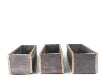 3 Reclaimed Wood Planters or Centerpieces For Garden, Rustic Weddings or Decoration