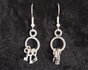 Key earrings in silver
