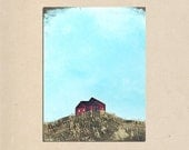 barn on a hill - 18 x 24 rustic textured farm barn fence contemporary landscape PAINTING art