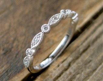 Vintage Inspired Diamond Wedding Ring in Platinum with Oval & Round Bezels with Gems Half Way Size 6