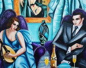 Original Fine Art Print Still Life Wine Figurative Lovers Couple Portrait From Original Oil Painting  Lovers Serenade by k Madison Moore