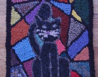 Black Cat on Stained Glass Background Complete Primitive Rug Hooking Kit or Pattern Only