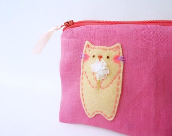 Small Pink Cat Coin Pouch Zipper Coin Purse Wallet - Cat Lover Gift
