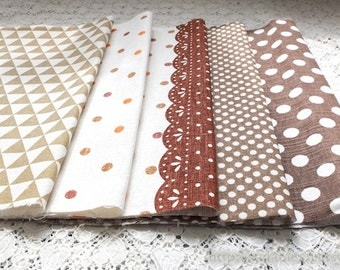 S074 Linen Fabric Scraps Bundle Set - Simple Brown Beige Colorway Dots Polka Dots Geometry Triangle Flags Lace Doily (5PCS, 9.8x9.8 Inches)