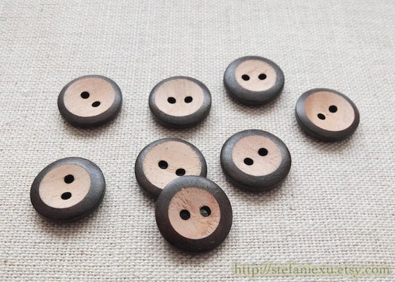 8PCS Wooden Buttons, Painted Color - Small Round Concave, Dark Brown (8PCS, D=1.5cm)
