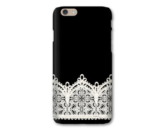 iPhone 6S Plus Case, Black and White Lace iPhone SE 5S Case, Vintage Lace i iPhone 7, iPhone 7 Plus Case, Plastic Cell Phone Case