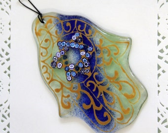 Jewish Judaica Home Blessing  Hamsa -Blue and Yellow Star of David  kabbalah Art - Fused Glass by virtulyglass