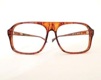 NOS Big Vintage 70s Faux Tortoise Aviator Eyeglass Frames/ Sunglasses. Havana Glasses 70s on sale