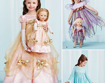 Girls' and Their Dolls' Costumes - Simplicity 1305 - New Sewing Pattern, Size 3, 4, 5, 6, 7 and 8