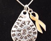 Life is Tough necklace, Uterine Cancer Awareness necklace, Peach Awareness Ribbon necklace, Cancer Jewelry, Peach Ribbon Jewelry