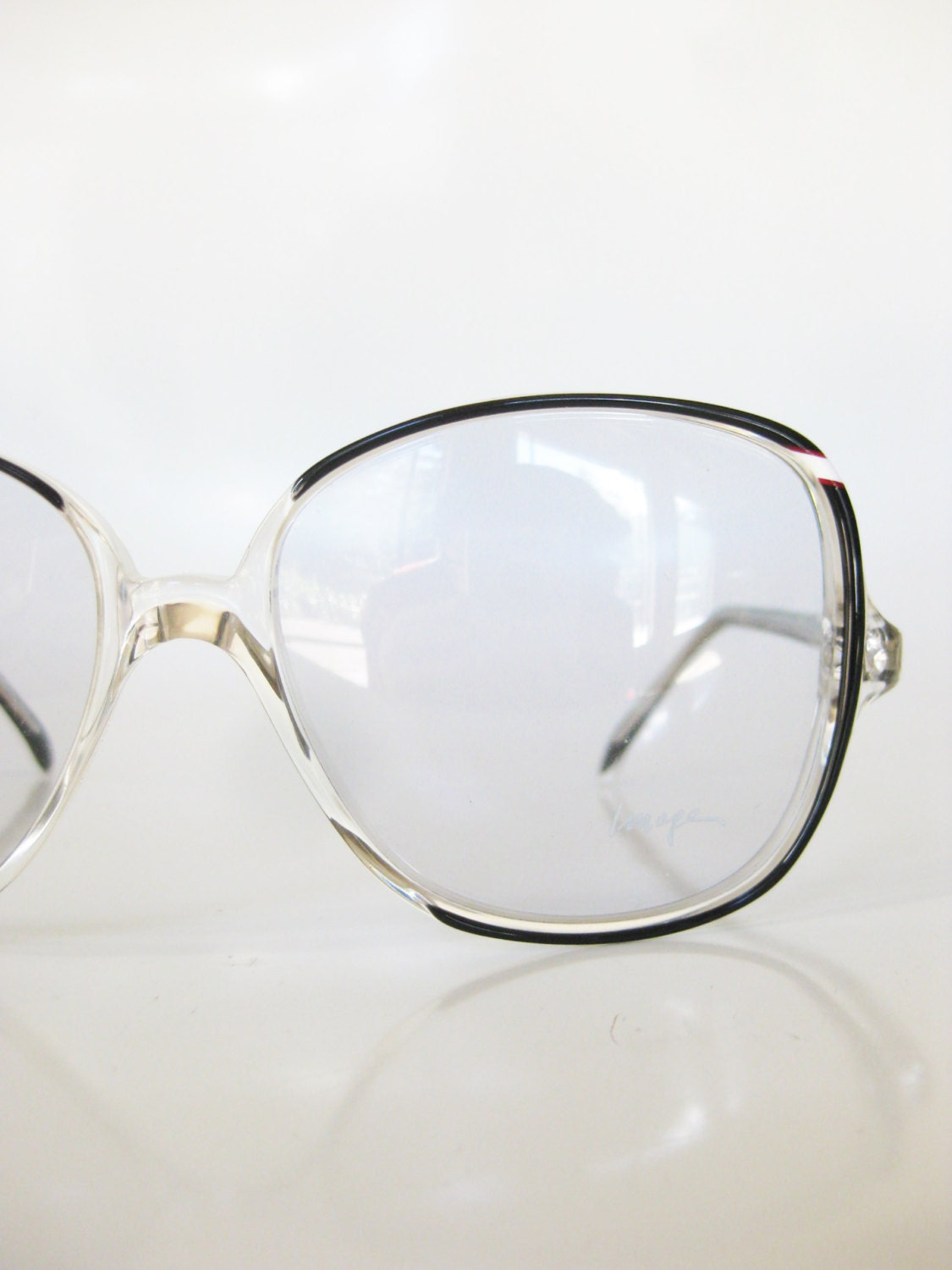 Glasses Frames Italian : Vintage Italian Black Clear Eyeglasses 1970s Glasses Sunnies