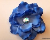 Beautiful Blue Rose Hair Flower with Jewel Center - Flower Girl - Bridal - Wedding - Prom hair piece - Spring Hair accessories