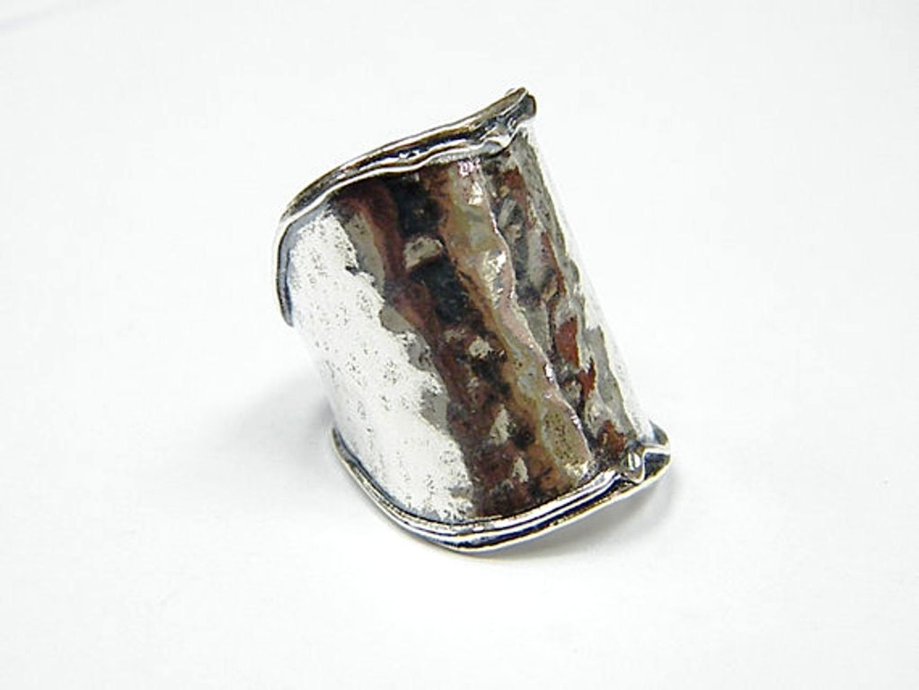 hippie ring sterling silver hammered ring boho by bluenoemi