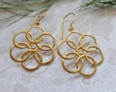 Brass And Nubrass Floral Dangle Earrings