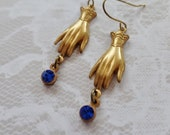 Vintage Style Brass Gloves And Cobalt Crystal Earrings