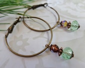 SALE! Faceted Green Glass And Crystal Brass Hoops