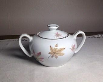 Vintage Sugar Bowl Royal Ming China Maple Leaf Japan 1950s
