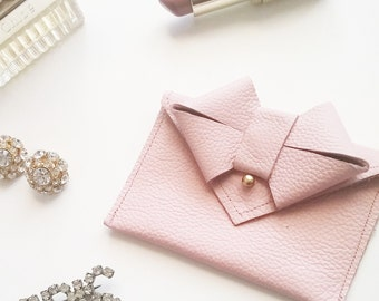 LAST CALL - Aoki Bow Wallet/Card Carrier - Blush