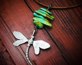 Sterling Silver Dragonfly Turquoise Necklace One of a Kind Jewelry Wild Prairie Silver
