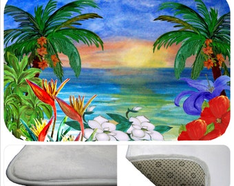 Ocean floral sunset beach soft non-skid bath, kitchen or floor mat for home from my art