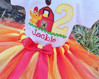 Girls Chica with Barn  Appliqued Age and TUTU