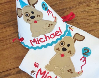 Appliqued Puppy Dog Birthday with Party Hat