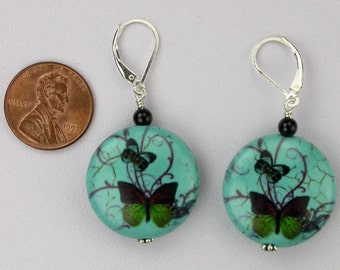 Butterfly and Onyx Earrings
