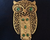 Vintage Gold and Green Owl Necklace