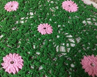 Vintage Pink and Green Crochet Doily