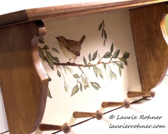 Hand Painted Furniture Bird on Tree Branch Wood Shelf with Pegs