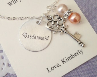 Skeleton Key, ask Bridesmaid, Flower girl, Handstamped charm necklace. Other Color Pearl Available. FREE Notecard Jewelry Box.