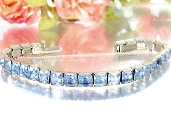 Vintage ART DECO BLUE Rhinestone Line Bracelet Light Blue Stone Silver Tone