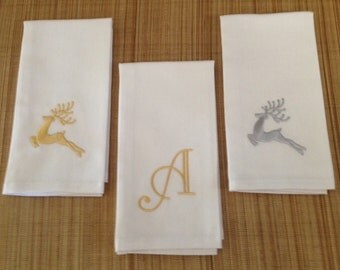 Silver and Gold Embroidered Dinner Napkins, set of Six