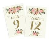 PRINTABLE Wedding Table Numbers 1-20  // Vintage Floral Table Numbers // Vintage Wedding // Spring Wedding // INSTANT DOWNLOAD