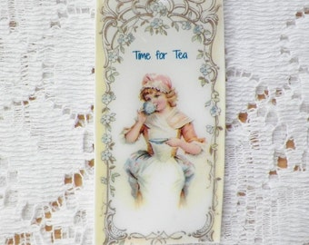 Time for Tea Vintage Image Key Chain / Keychain, Girl Drinking Cup of Tea, Blue Flowr / Flowers, Floral
