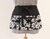 Vendor apron - Waitress apron - Teacher Apron - half apron with zipper pocket - adjustable waist strap Black and White Scroll MADE to ORDER