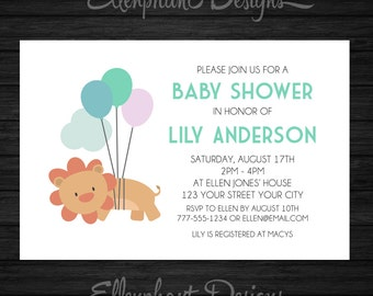 Baby Shower Invitation, lion, balloons, cute lion, baby sprinkle, baby shower, lion invitation, custom invite, digital file, you print