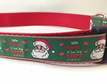 Christmas Dog Collar, Mommy Kissing Santa,1 inch wide, adjustable, quick release, metal buckle, chain, martingale, hybrid, nylon