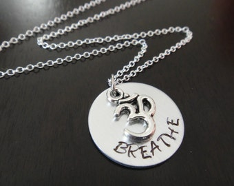 Handstamped Om Yoga Breathe Necklace