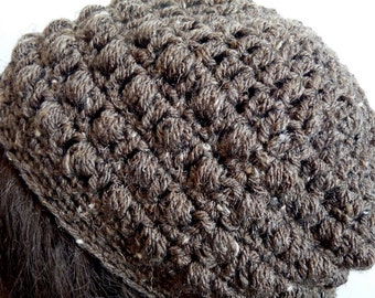 Crochet Slouchy Hat in Brown, Beanie for Teens and Women