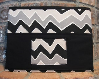 Black, Gray and Beige Chevron Magazine & Tract Bag, Tablet Sleeve, With Contact Card Pocket