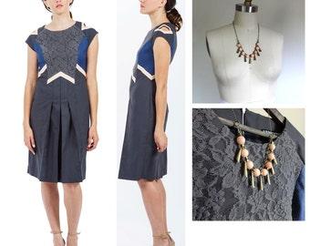 SET / Sale Set / Dress plus Necklace / Geometric Dress / Eco Fashion / Gift Set / Special Occasion Dress / Sleeve Cutout / Pleated Dress